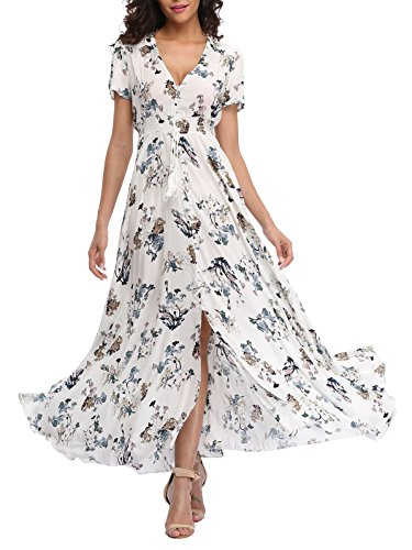 VintageClothing Women's Floral Print Maxi Dresses Boho Button Up Split Beach Party Dress,Off White&floral,Medium
