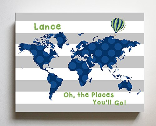 MuralMax - Personalized - Dr SeUSDs Nursery Decor - Striped Canvas World Map Collection - Oh The Places You'll Go - Size - 20 x 24… (Striped Personalized Canvas)