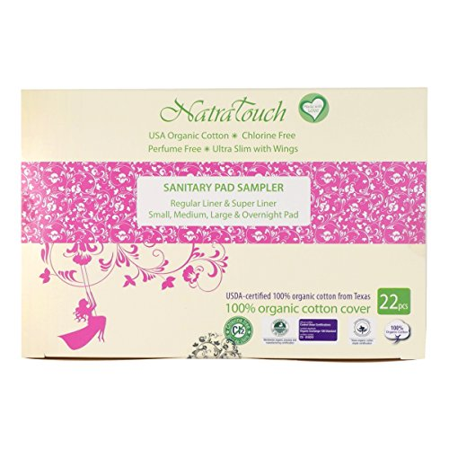 otton Sanitary Pads and Panty Liners - Sampler Pack -6 sizes (22 pieces) (Panty Liner Regular Cotton)