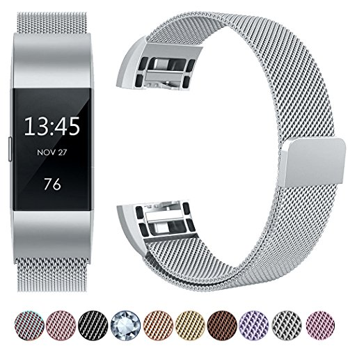 GEAK Fitbit Charge 2 Bands Metal,Milanese Loop Stainless Steel Replacement Accessories Magnetic Metal Small Bands for Fitbit Charge2 Silver