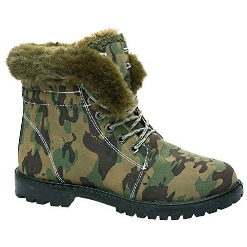 Dames Fourrure Taille Camo High Bottes Combat Plat Arme 3 Neige Chaud Poigne Casual 8 Cheville Semelle De Chaussures Up Hiver Top Mode Lace Col Femmes rSrq1w