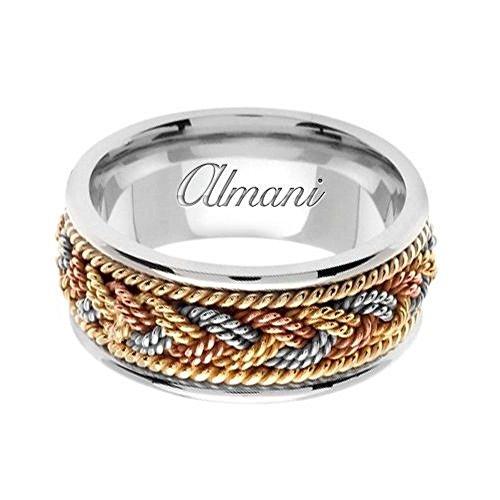Almani 18K Gold 9mm Handmade Tri-Color Wedding Ring 075 - Size 10 - 18k Tri Color Ring
