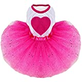 Elisona-Sweet Pet Dog Tutu Skirt Dress Clothing Costume Apparel Glitter with Love Heart Ornament for Daily Wedding Party Holiday Rose Red Size XS