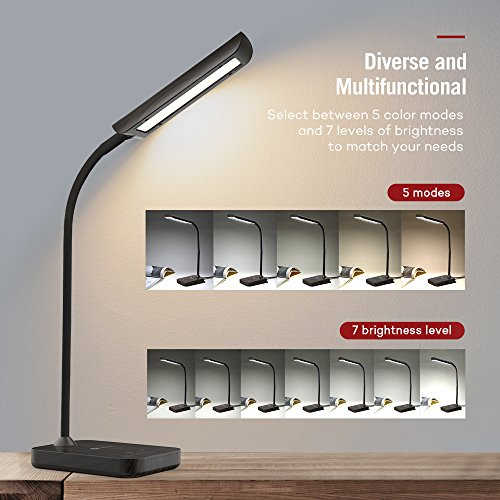 TaoTronics Desk Lamp, LED Table Light with 5 Lighting Modes & 7 Brightness Levels (Eye Caring, Flexible Gooseneck, Touch Controls, Memory Function) Wood Grain Design by TaoTronics (Image #1)