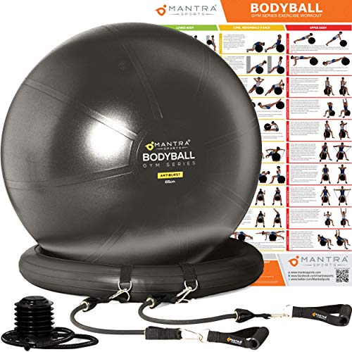 Exercise Ball Chair - 65cm & 75cm Yoga Fitness Pilates Ball & Stability Base for Home Gym & Office - Resistance Bands, Workout Poster & Pump. Improves Balance, Core Strength & Posture - Men & Women ()