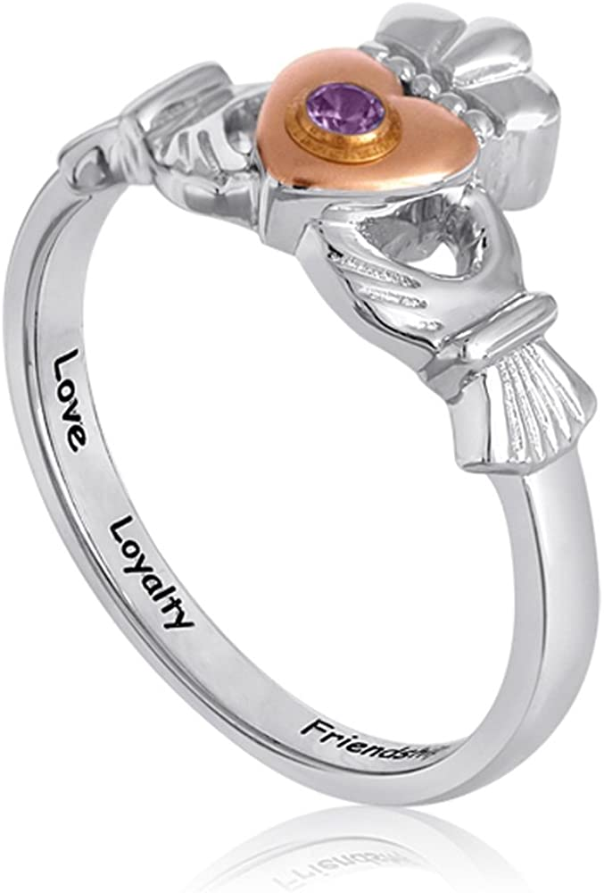 Size 4 in Sterling Silver Esty /& Me Childrens Claddagh Ring with Personalized Simulated Birthstone