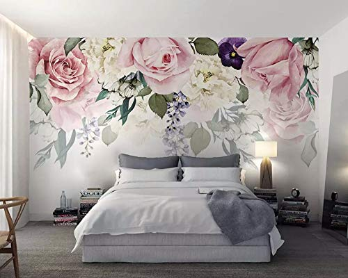 Wall Mural 3D Wallpaper Rose Flower Leaves Retro Minimalist Modern Wall Paper for Living Room Bedroom Tv Wall - Flower Wallpaper Retro