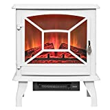 Perfetto Kitchen and Bath 20'' White Freestanding Log Bed 2 Setting Electric Fireplace Stove Heater