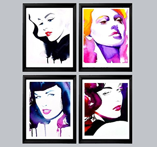 Set of 4 Fashion Illustrations Art Prints of Original Watercolor Paintings Salon Retro Decor 1950s Old Hollywood Marilyn, Ava, Bettie, Lana (Old Hollywood Posters)