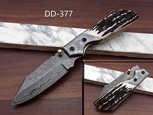 """8.3"""" Long Hand Forged Custom Made Damascus Steel Pocket Clip Folding Knife, Various Scale Colors Available withDamascus Bolster, 4"""" Long Blade, Cow Hide Leather Sheath with Belt Loop (Stag Antler)"""