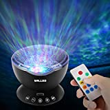 [Newest Design] Remote Control Ocean Wave Projector, SOLLED 12 LED & 7 Colors Ocean Night Light with Built-in Mini Music Player for Living Room and Bedroom (Black)