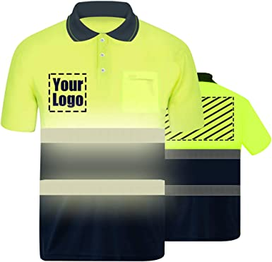 High Visibility Reflective Safety T-Shirt Custom Your Logo Protective Short Sleeve Hi Vis Polo Shirt Outdoor Workwear
