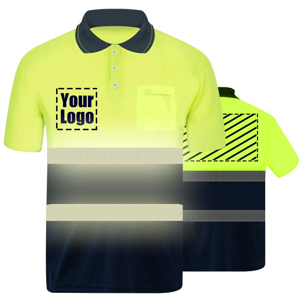 Hi Vis T Shirt Reflective Safety Shirt Custom Your Logo Protective short sleeve Polo Shirt Workwear (Neon Yellow-XXL)