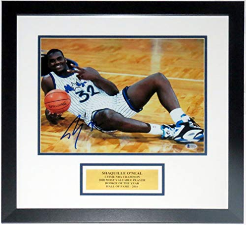 Shaquille O'Neal Signed 11x14 Photo - Beckett Authentication Services BAS COA Authenticated - Professionally Framed & Commemorative Plate