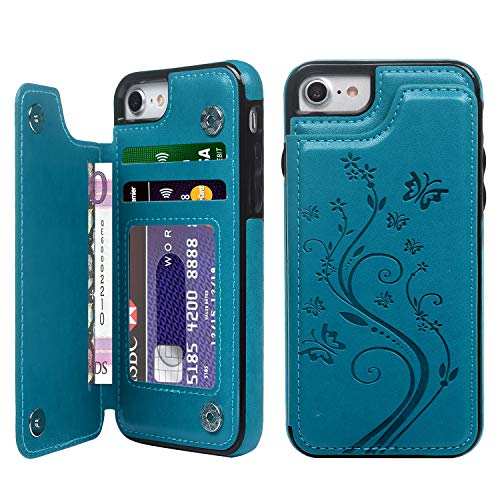 SUPWALL iPhone 7 Card Holder Case, iPhone 8 Wallet Case Embossed Butterfly Slim Folio Leather Cover Shockproof Shell with Credit Card Slot Protective Skin for iPhone 7 & 8,Blue