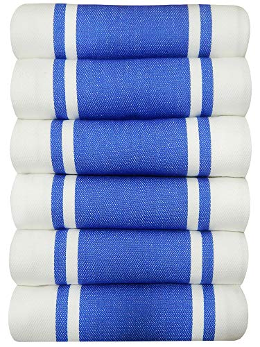 Tiny Break Dish Kitchen Towels Vintage Striped 100% Cotton Tea Towel 20 x 28 inch Set of 6, Blue