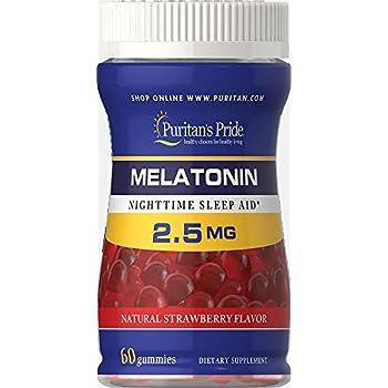 Puritans Pride Melatonin Gummy 2.5 mg Strawberry Flavor-60 Gummies