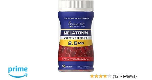 Amazon.com: Puritans Pride Melatonin Gummy 2.5 mg Strawberry Flavor-60 Gummies: Health & Personal Care
