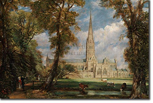 John Constable - Salisbury Cathedral from the Bishops Ground (1823) - Classic Painting Photo Poster Print Art Gift - RA Suffolk Landscape Painter Country - Size: 24 x 16 Inches (61 x 40.5 cm)