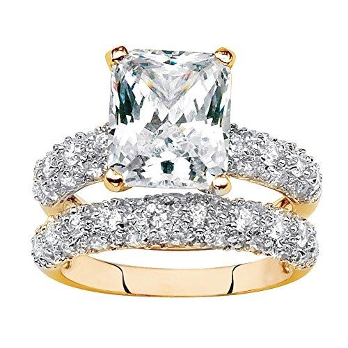 Palm Beach Jewelry 14K Yellow Gold-Plated Emerald Cut Cubic Zirconia Wedding Ring Set Size 8