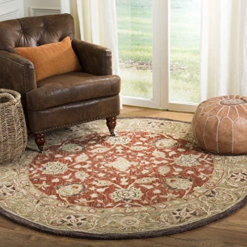 Safavieh Anatolia Collection AN512G Handmade Traditional Oriental Rust and Green Premium Wool Round Area Rug 4' Diameter