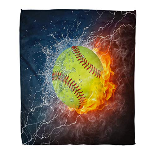 Red Flannel Run - Emvency Decorative Throw Blanket 50 x 60 Inches Orange Softball Baseball Ball on Fire and Water 2D Graphics Computer Design Red Run Warm Flannel Soft Blanket for Couch Sofa Bed