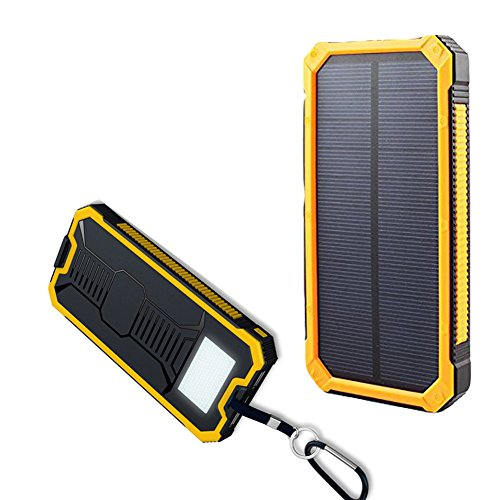 Solar Power Bank Charger Hongro 20000mah Dual Usb Solar Battery Charger Bank with Emergency LED Flashlight Portable Solar Charger Power Bank for iPhone iPad Smart Phones Tab (Yellow)