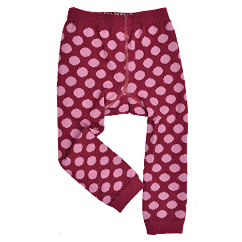 Baby Girl Footless Tights - Polka Dots -Burgundy/Lt.Pink- Cute Organic ()