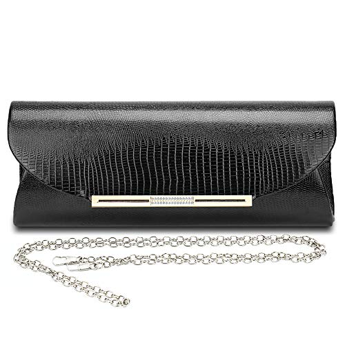 - Marswoodsen Handbag for Women Simple Fashion Envelope Clutch purse Evening Bag PU Leather 10.6 Inch Black for Wedding and Party