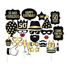Miraclekoo 50th Birthday Party Photo Booth Props Party Favor Kit,28 Pcs