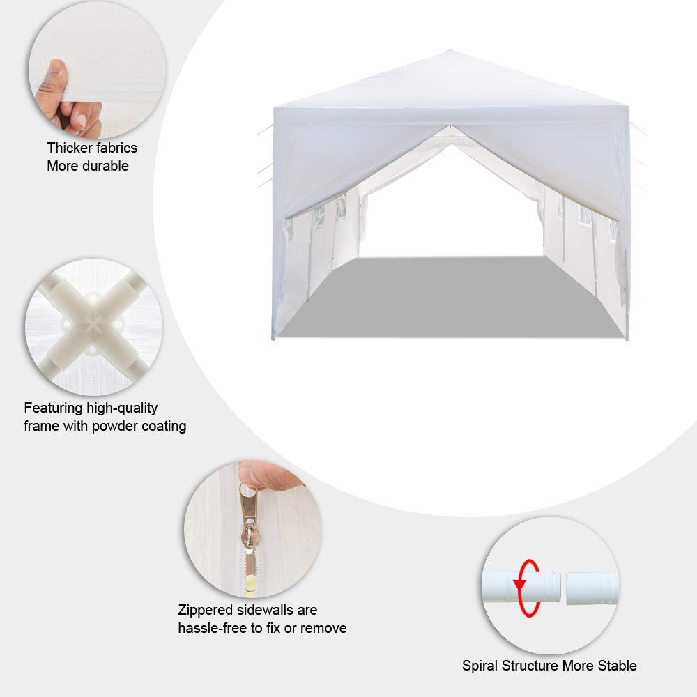 Teekland 10'x30' Outdoor Canopy Party Wedding Tent,Sunshade Shelter,Outdoor Gazebo Pavilion with 8 Removable Sidewalls Upgraded Thicken Steel Tube (10' x 30' / 8 Removable Sidewalls-1) by Teekland (Image #8)