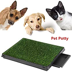 Puppy Pet Potty Training Pee Indoor Toilet Dog Grass Pad Mat Large Turf w/Tray