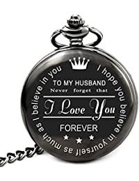 Husband Gifts from Wife for Husband Engraved Pocket Watch with Chain (to My Husband)
