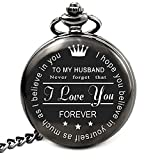 LEVONTA Husband Gifts From Wife Anniversary Gifts for Husband Engraved Pocket Watch With Chain (To My Husband)