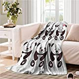 Oncegod Baby Blanket Panda Funny Bears with Big Eyes Camping Throw,Office wrap 60' W x 51' L