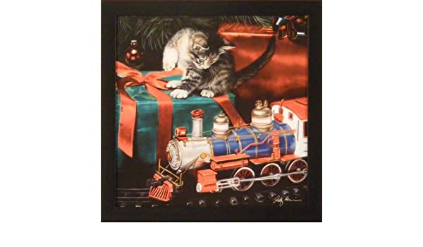 THE HOLIDAY EXPRESS by Lesley Harrison SIGNED FRAMED PRINT 17x17 Christmas Cat