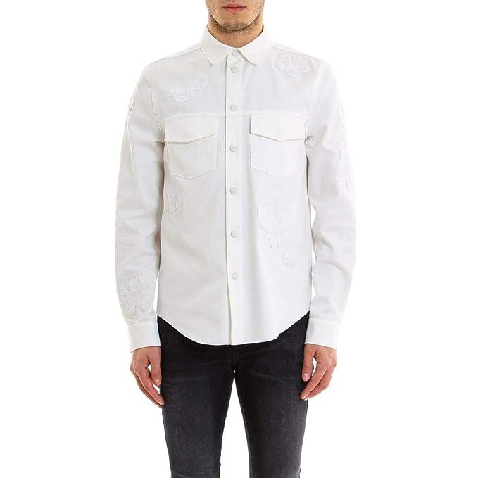 Valentino Hombre Mv3ci12848kz67 Blanco Algodon Camisa: Amazon.es: Ropa y accesorios