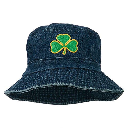 Saint Patrick's Day Clover Embroidered Bucket Hat - Denim -