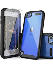 IDYStar iPod Touch 7th Generation Case, 2 in 1 Shockproof iPod Case with 2 HD Screen Protectors, Hybrid Heavy Duty Protection Shock Resistant Cover for iPod Touch 5/6/7th Generation, Black
