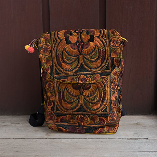Bookbags Handmade Changnoi Trade Fair Embroidered Style Mocha Bird Boho Backpacks wOaHZ6aqx
