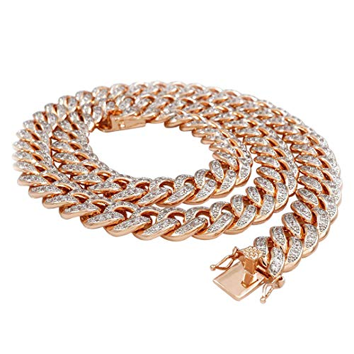 NIV'S BLING 18k Rose Gold-Plated Cubic Zirconia Cuban Miami Link Chain - 30 inches