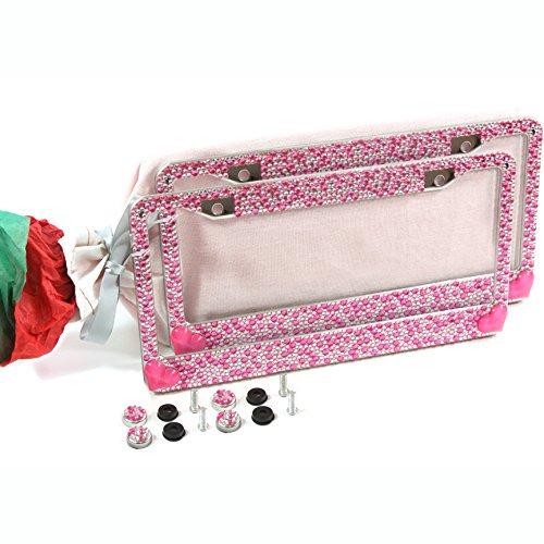 (2) Pink Bling Hearts Glitter Crystal RhineStone License Plate Frame Car Gift