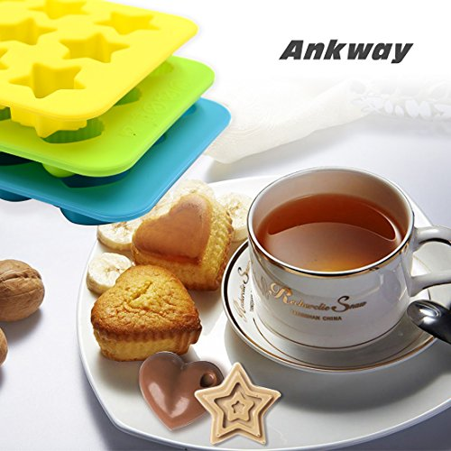 Silicone Chocolate Molds & Candy Molds - Ankway Set of 3 Non Stick BPA Free Small Flexible Hearts, Stars & Shells Baking Wax Molds Silicone Ice Cube Trays Mini Ice Maker Molds(15 Cups) by Ankway (Image #4)