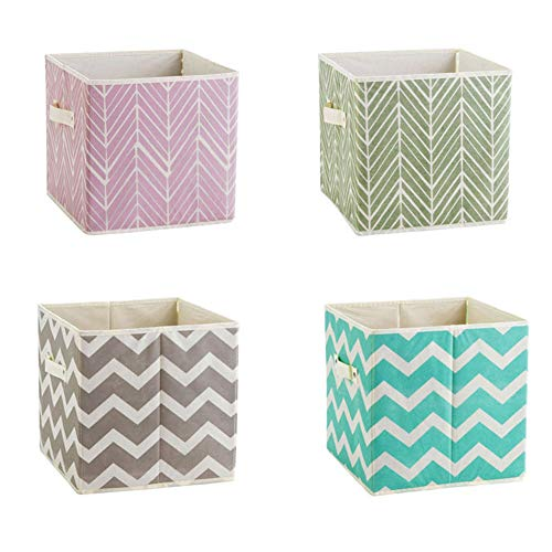Clothes Colorful - 4 Packs Cloth Storage Bins Cubes Boxes Fabric Baskets Containers,Foldable Closet Shelf Nursery Drawer Organizer for Clothes,Home,Office, Bedroom for Shelves Closet Nursery Organization 11in (Colorful)