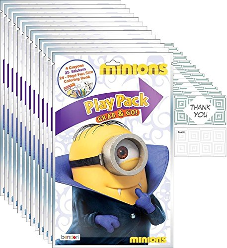 Minions / Despicable Me Halloween - Set of 12 Disney Play Pack Grab & Go - Party coloring and activity play packs
