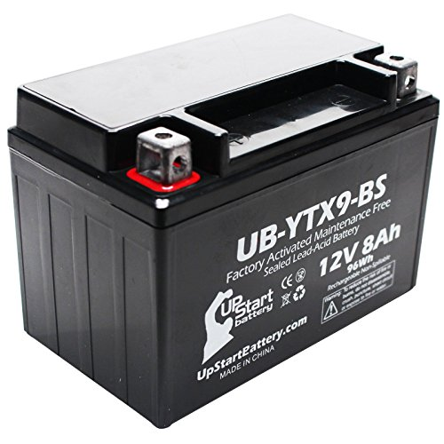 Replacement for 2011 Kawasaki EX250, Ninja 250R 250CC Factory Activated, Maintenance Free, Motorcycle Battery - 12V, 8Ah, UB-YTX9-BS ()