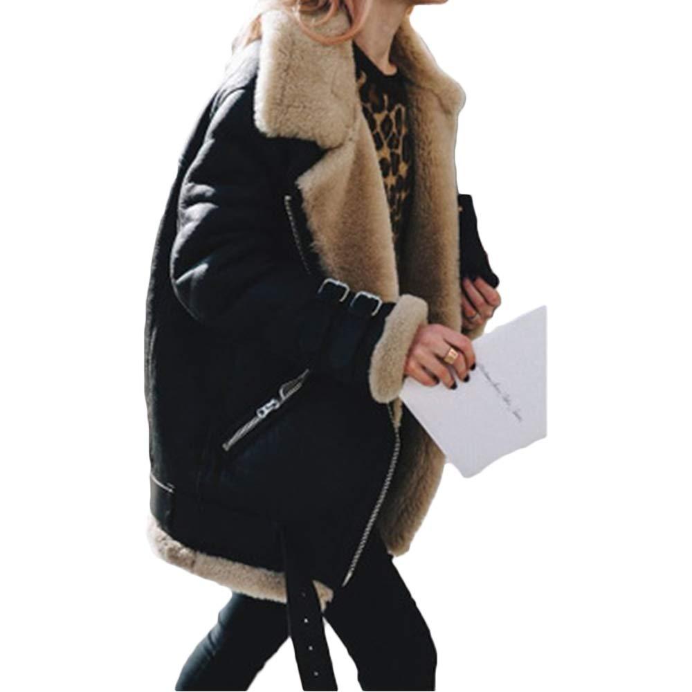 Womens Solid Color Long Sleeve Faux Suede Zipper Short Coat Jacket Causal Winter Warm Moto Tops Outwear