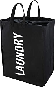 iwill CREATE PRO Canvas Laundry Tote Bag, Collapsible Laundry Hamper, Black