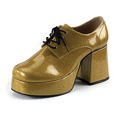 Mens Platform Shoes Gold Glitter Disco Shoes 3 1/2 Inch Chunky Heel MENS SIZING Size: Large -