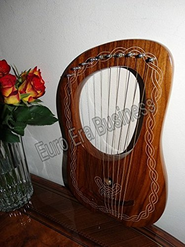 10 string lyre harp rosewood with tuning key & carrying bag by Euro Era